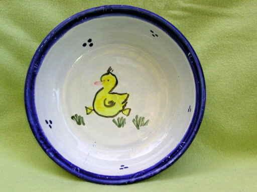 Tiefer Kinderteller blau mit Ente