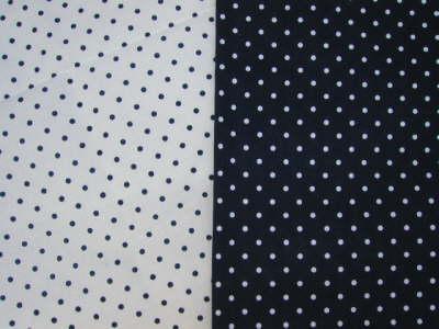 Meterware und Blaudruckdecken: blaue Punkte - weisse Punkte