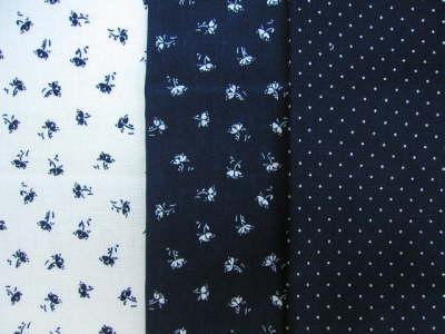 Meterware und Decken Blaudruck aus Bürgel: Dekor Antje blau auf weiss, weiss auf blau, kleine Punkte