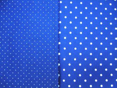 Meterware und Blaudruckdecken hellblau: kleine und grosse Punkte