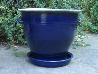 Pflanztopf Steinzeug blau