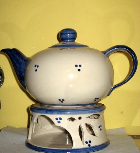 Teekanne 1,5 Liter und Stövchen Steinzeug weiss